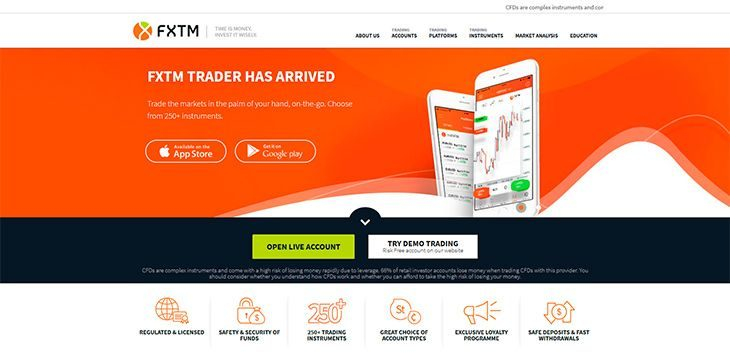 FXTM (Forextime) main page