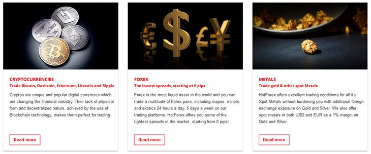 HotForex trading instruments